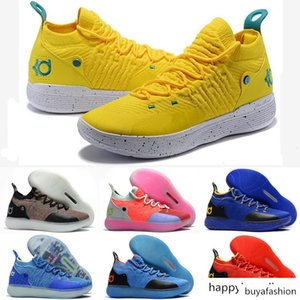 2019 designer shoes KD 11 Kids Basketball Shoes Kevin Durant 11s Zoom mens running Athletic shoes yellow KD EP Elite Low Sport Sneakers