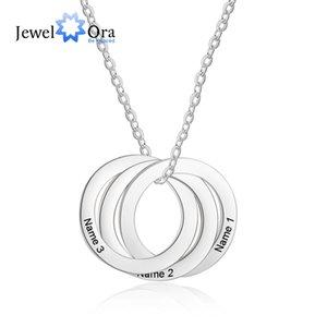 3 Круг Пользовательские Персонализированные Имя Ожерелье Из Нержавеющей Стали Ожерелья Подвески Подарок Для Любовника (JewelOra NE103037)