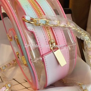 2020 Designer Luxury Crossbody Bags Transparent Brand Jelly Bag Wallet Fashion Clear Round Hot Sale PVC Material Patchwork Color Chain Bags