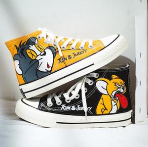 Japanese Style Anime Hohe Schuhe Tom und Jerry Schuhe Männer Frauen Studenten Graffiti-Leinwand-Schuhe 2019 nette Karikatur-beiläufige Turnschuh