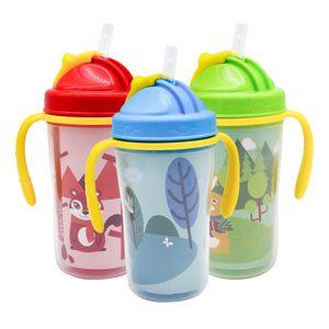 Ударопрочный Baby Sippy Cup дети питьевой бутылки с ручкой обучение питьевой чашки 300 мл чашки соломы чашки подпрыгивая чайник для новорожденных