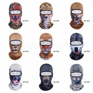 Kış Açık Hayvan Balaclava 3D Baskı köpek kedi kaplan Bisiklet Kayak Beanie Cap tam Yüz Maske Şapka Boyun Kapak kap başlık LJJA3280-14