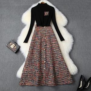 Avrupa ve Amerikan kadın giyim 2019 kış yeni stil Uzun siyah kazak Boncuklu tüvit etek Moda elbise kollu