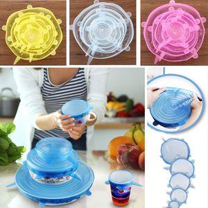6pcs / set extensible en silicone Couvercles Pot d'aspiration Couvercles frais Garder Wrap Couvercle Joint Pan Couvercle de cuisine Outils Accessoires Lave-vaisselle XD21731