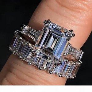 2PCS Couple Rings Luxury Jewelry Real 100% 925 Sterling Silver Big Princess Cut White Topaz CZ Diamond Gemstones Women Wedding Bridal Ring