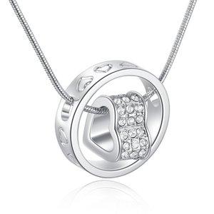 New cristal austríaco pingente de diamante coração colar de strass Coração e encanto Anel cadeia cobra Para Jóias mulheres Moda em massa