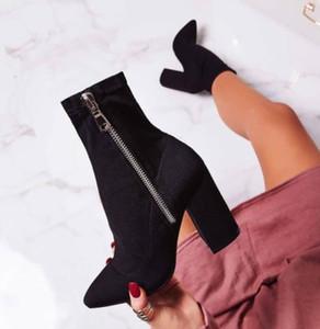 Più di formato 35 per 42 caviglia stivaletti donna del progettista nero sintetica scamosciata con zip laterale grosso stivali tacco prossimo con la scatola