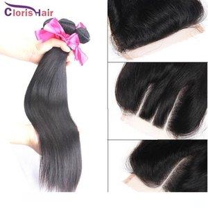 Bir İşlenmemiş Düz Perulu Bakire İnsan saç örgüleri 3 Paketler ile Dantel Kapatma Ucuz Samanyolu atkıların İpek Üst Kapatma Paketler