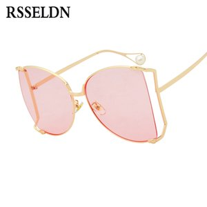 wholesale Oversized half frame Sunglasses Women 2019 Fashion Gradient Lens Sun Glasses For Women Vintage yellow Pink Shades UV400