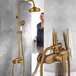 Antique Brass Misturador Do Chuveiro Set Único Alavanca de Banho Torneira Misturadora Cabeça de Chuveiro Chuvas Expostas Sistema de Chuveiro com Chuveiro de Mão