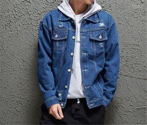 Fema Mantel-beiläufige Frühlings-Herren-Oberteile Outwear Designer Loch Tasche Jeans Jacken Herren Langarm-Mode