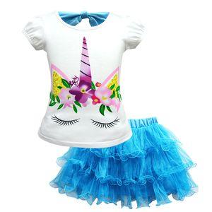 4 Colors Fashion Unicorn Suit Girls Short-sleeved T-shirt Suit Children's Mesh Dress Suit Unicorn Party Supplies 3-10T Baby girl clothes