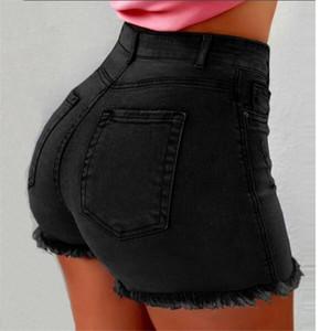 Femmes Skinny Denim Shorts Couleur unie taille haute Femmes Sexy Short Hole Modèle Ladise Sexy Shorts