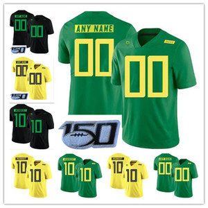 Personnalisé College Oregon Ducks 2019 New Football Tous Nom Numéro Vert Jaune 10 Justin Herbert 7 CJ Verdell Mariota NCAA Football Jersey 150E
