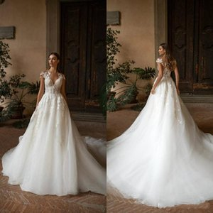 Milla Nova Boho Wedding Dresses 2020 A Line Lace Appliqued Sheer Neckline Bohemia Bridal Gowns Sweep Train Custom Made Vestidos de Novia