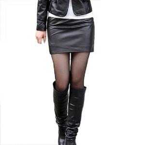 Женщины Sexy Сплошной черный кожаный PU карандаш Юбки 2019 Ladies Bodycon высокой талией Smooth Причинная Карандаш Мини юбка ClubWear Юбки