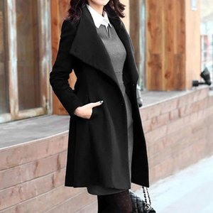 2019 Winter Coat Womens Winter Lapel Wool Coat Trench Jacket Long Sleeve Overcoat Outwear Oversize Long Gray Trench mujer