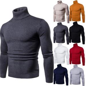 FAVOCENT Maglione a collo alto caldo inverno Uomo Maglione lavorato a maglia solido maschile 2018 Colletto doppio maschio a maniche corte Slim Fit