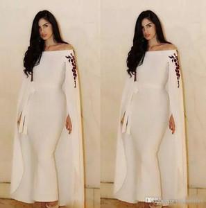 Suudi Arapça Mermaid Abiye Ayak bileği uzunluğu Hüsniye Moda Custom Made Kapalı Omuz Aso Ebi Parti Abiye