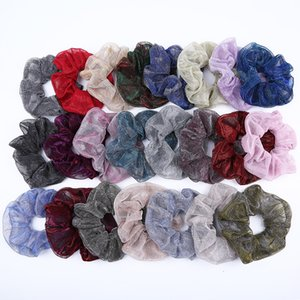 Women Gold Silver Bright Silk Scrunchies Large Intestine Hair Ties Ropes Elastic Hairbands Girls Ponytail Holder Hair Accessories M2032