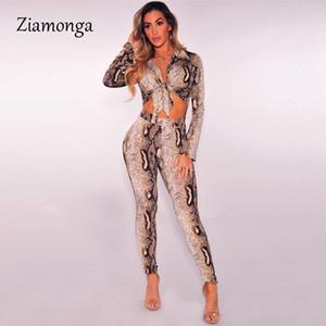 Ziamonga serpent imprimé léopard deux pièces Set Femmes Automne Vêtements Sexy Club Tenues manches longues Crop Top Pant 2 Piece Set Matching