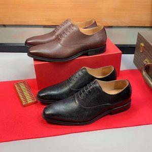 Leather Wedding Dress Shoes Black Round Toe Flat Business British Lace-up Men shoes New wan2