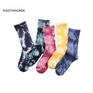 harajuku Men Sock Knee-high Funny Cycling Running Hiking Tie Dye Sox hip hop happy funny socks skarpetki damskie