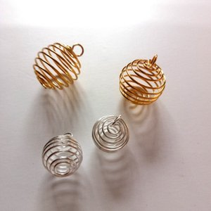Atacado 100 pcs Alloy Primavera Spiral Beads Gaiolas Pingentes de Moda Jóias Diy Acessórios Encantos 14x15mm / 20x25mm