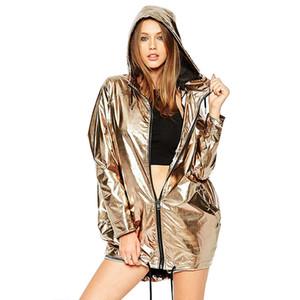 Kadın Ceket Hırkalar Moda 4 Renkler Metal Rengi Gevşek Kapşonlu Triko Su geçirmez Uzun Kollu Dış Giyim Asya Boyut S-2XL