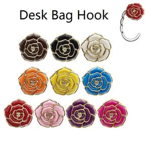 Table Bureau Sac Crochet Portable Sac pliable en métal Purse Crochet Table pliante Hanger Rose en forme de crochet Creative sac à main