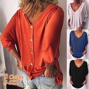 일곱 개 소매와 여성의 V 넥 박쥐 여자 3D 셔츠를 인쇄하는 도매 디자인 버튼 T 셔츠 여성 상위 여성 긴 t 셔츠면을 다시