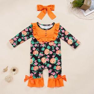Neonata Halloween pagliaccetto fiore di zucca di Halloween con volant tuta Outfits Newborn vestiti del costume di Halloween bambino