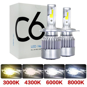 2pieces C6 Headlight original H4 LED voiture LED PHILLAMP H11 H8 H8 H8 H3 BOUCHE DE BOUCHE DE BOUCHE DE BOUCHE H7 9005 HB3 9006 HB4 880 881 9012 6000K 8000K 4300K ​​4300K