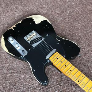 New qualidade Superior، clássico TELE 6 Cordas Da Guitarra Elétrica de Bordo fingerboard telecaster، gitaar relíquias pelas mãos. بريتو guit