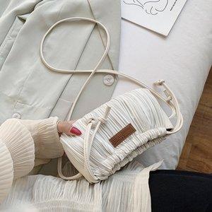 Sac en cuir plissé Casual portable classique délicat Creative Crossbody Chic Femmes épaule Sling Petit Drawstring Pouch