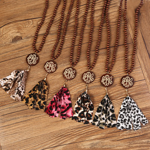 Herbst und Winter-Monogramm-hölzerne wulstig Plaid und Leopard Quaste Halskette Weinlese-Monogramm-hölzerne wulstige Leopard Quaste Designer-Halskette