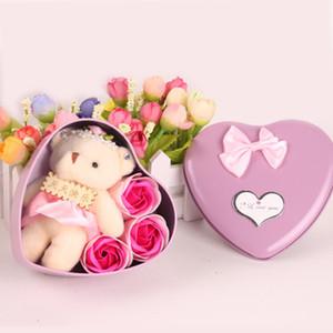 Caixa do coração sabão Flor Bear Doll para Dia dos Namorados romântico de presentes de casamento casa decoração Arts and Crafts 3pcs Flor + 1pcs Urso = 1 Box