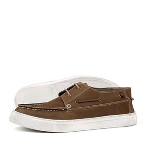 Sapatos Verão Casual couro genuíno Shoes Men Vintage estilo britânico Plano de barco Lace Up Moda Branco Low Top Homme 2020
