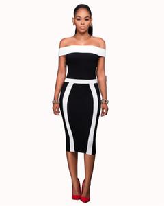 2019 Diseñador Mujer Vestidos de verano Estilo caliente Sexy Elegante Rayas blancas negras Cuello oblicuo Vestidos ajustados Vestidos de fiesta para mujer