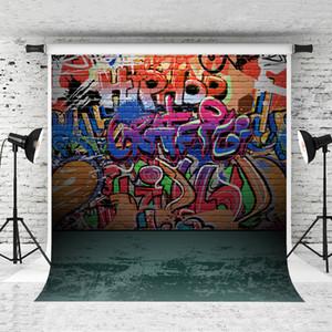 Çocuklar Portre Fotoğraf Yeşil Kat Backdrop Studio Prop için Renkli Graffiti Tuğla Duvar Backdrop Hiphop Sanat Fotoğraf Arka Plan 5x7ft Rüya