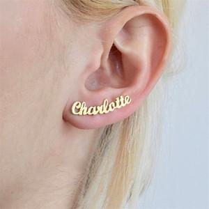 Personnalisé Personnalisé Nom boucles d'oreilles pour les femmes Personnalisez Initial Cursive Nameplate1 Paire Boucle D'oreille Cadeau Pour Meilleur Ami Filles