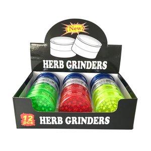 Molinillo de hierbas con 3 llaves de 60 mm molinillos de tabaco de plástico para accesorios de humo Tubos de fumar Pinders acrílicos En stock