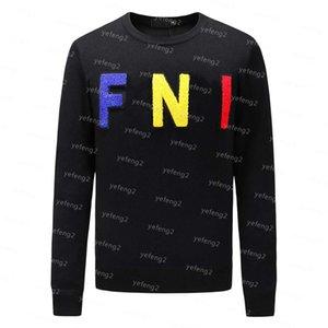 fendi FENDI men Para hombre marca con punto de los hombres Marca Sudadera con capucha de manga larga camiseta de la marca bordado de la letra géneros de punto ropa de invierno