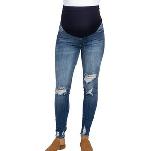 ARLONEET Pregnant Woman Ripped Jeans Maternity Pants Trousers Nursing Prop Belly pregnancy clothes pregnancy jeans 2019