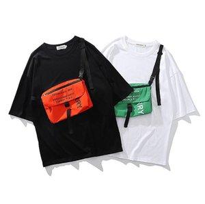 Gençler Hiphop Çapraz Çanta Tshirts Yaz Drsigner Gevşek Kasetli 2020 İşleme Trend Mürettebat Boyun Sokak Erkek Moda Casaul Tees Giyer