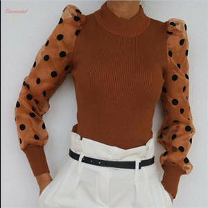 Females Long Puff Sleeves T Shirt New Fashion Sheer Mesh Dot Printed Sleeves Slim Tops Ladies Fashion Knitting Tunic Tops