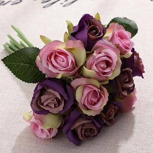 Manşonları Sahte Gül Yapay Çiçek Yüksek Kalite İpek Plastik Simülasyon Çiçek Ev Partisi Düğün süslemeleri Güller 12pcs / lot LJJA3264-2