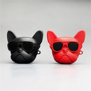 Housse de protection pour AirPod 1/2/3 Bluetooth Couverture pour AirPod mode Cartoon Lunettes de soleil de chien de bouledogue de modèle Boîte de rangement 2 couleurs