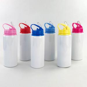 Customized Logo Sublimation Wide Mouth Wasserflasche mit Trinkhalm Großhandel weißen Aluminium-Flasche mit Multi-Color Cap