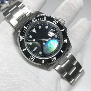 2020 nuevo negro hombres del reloj secundario barridos de 40 mm Aparatos y relojes de bloqueo del deslizamiento de cerámica bisel relojes de cristal de zafiro